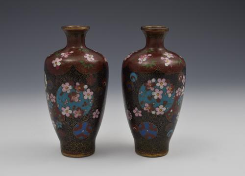 Pair of Small Japanese Meiji Period Cloisonne Vases (1 of 1)