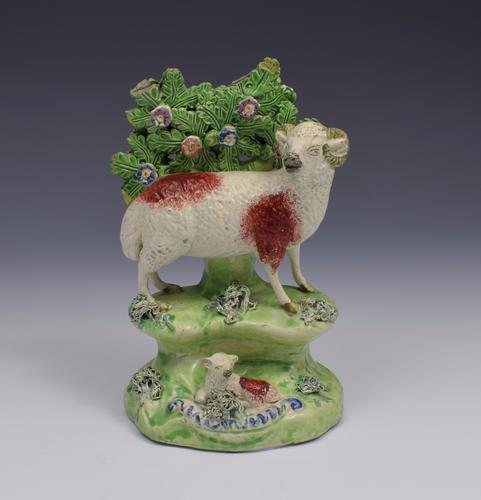 Early 19thc Walton Staffordshire Pearlware Bocage Group Ram & Lamb (1 of 1)