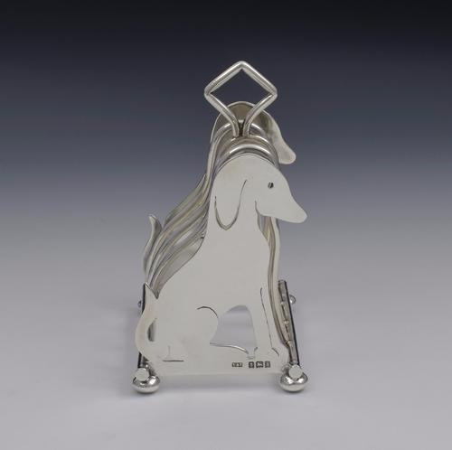 Edwardian Novelty Dog Silver Toast Rack Levi & Salaman (1 of 1)