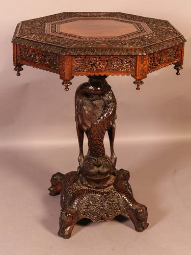 Good Indian Carved Table c.1860 (1 of 11)