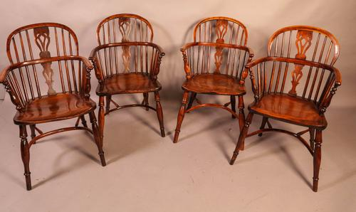 Set of 4 Yew Wood Windsor Chairs Nicholson Rockley (1 of 22)