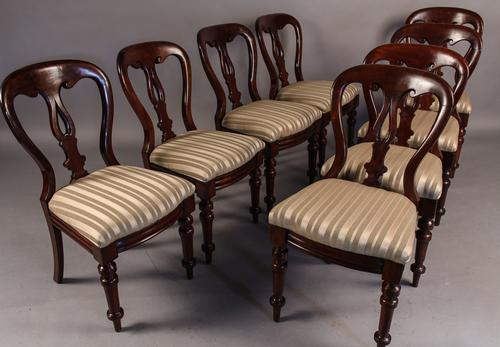 Set of 8 Victorian Balloon Back Dining Chairs (1 of 1)