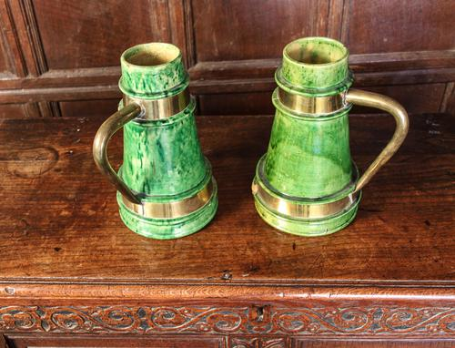 Pair of Green Glazed Jugs c.1880 (1 of 1)