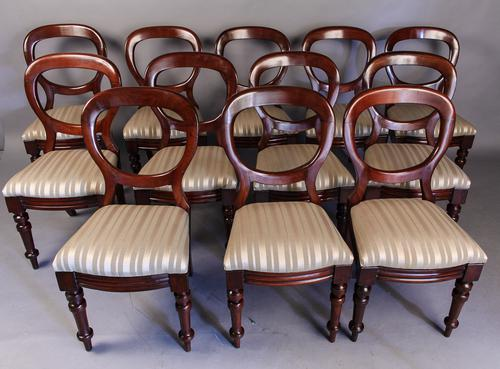 Set of 12 Victorian Mahogany Balloon Back Dining Chairs (1 of 1)