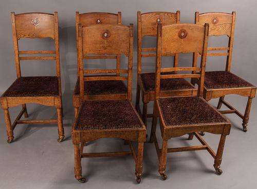 Set of 6 Arts & Crafts Dining Chairs c.1890 (1 of 1)