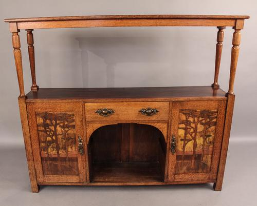 Arts & Crafts Bookcase in Oak Inlaid Panels C.1890 (1 of 1)