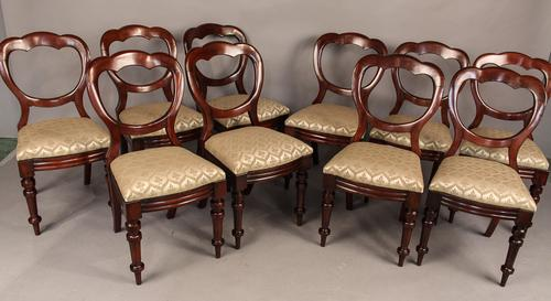 Set of 10 Victorian Mahogany Balloon Back Dining Chairs (1 of 1)