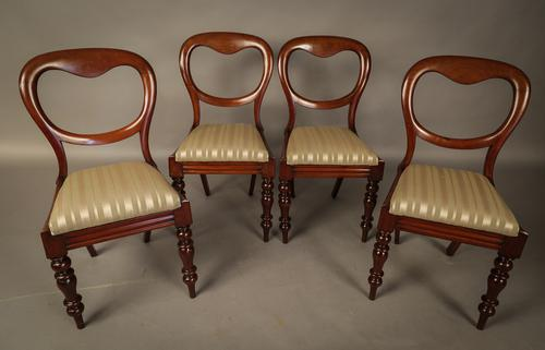 Set of 4 Victorian Mahogany Balloon Back Dining Chairs (1 of 1)