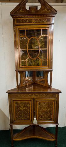 Edwardian Inlaid Corner Cabinet Full Height (1 of 1)