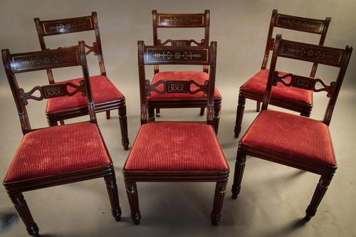 Fine Set of 6 Regency Brass Inlaid Dining Chairs (1 of 1)