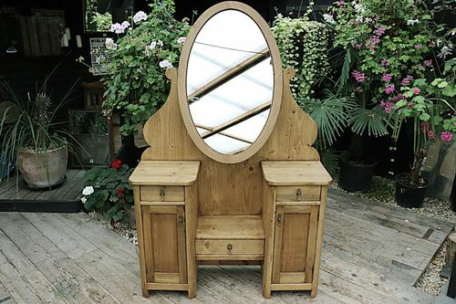 Fabulous Old Pine Adjustable Mirrored Dressing Table - We Deliver! (1 of 9)