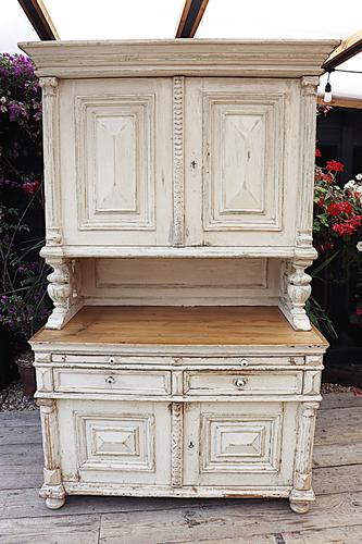 Amazing! Very Old 2 Piece Pine / Painted Dresser / Cupboard / Cabinet - We Deliver! (1 of 15)