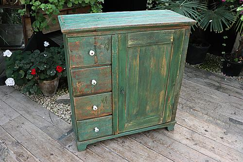 Fab! Old Pine / Green Painted Base / Cabinet / Food Cupboard / Sideboard - We Deliver (1 of 12)