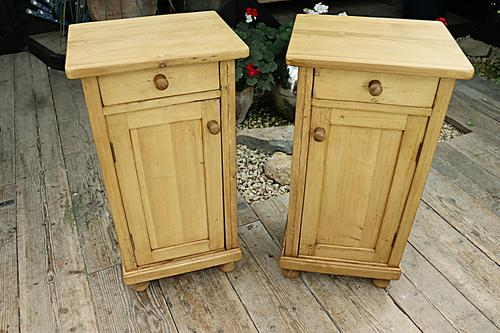 Large Pair of Old Stripped Pine Bedside Cabinets / Cupboards-We Deliver! (1 of 9)