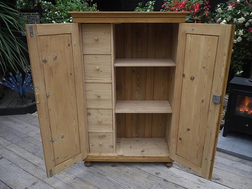 Fab! Old Antique Pine Cupboard / Linen / Food / Kitchen Larder / Office / School / Storage (1 of 1)