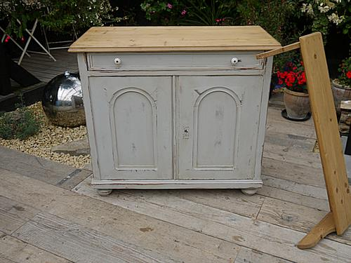 Wow! Old Victorian Antique Pine Painted Dresser Base Sideboard / Cupboard / Cabinet (1 of 1)
