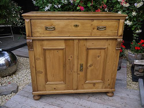 Nice Old Antique Victorian Waxed Pine Dresser Base Sideboard / Cupboard / Cabinet (1 of 1)