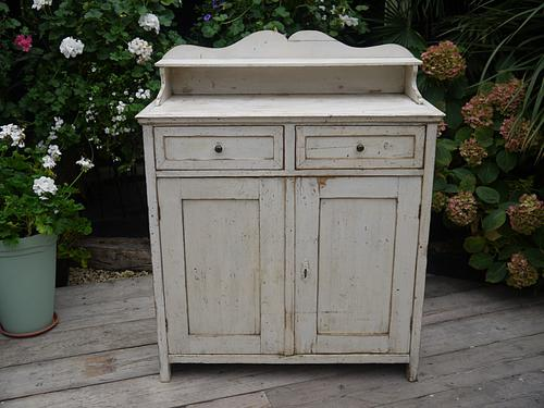 Lovely Antique Victorian Pine Painted Dresser Base Sideboard / Cupboard (1 of 1)
