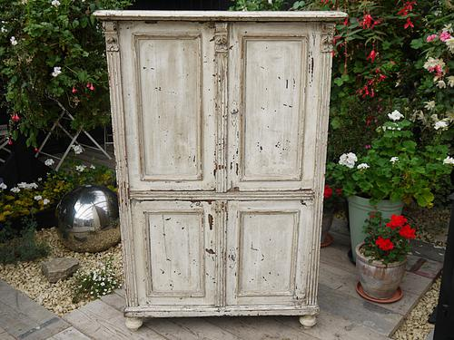 Wow! Victorian Old Painted Pine Cupboard / Linen / Food / Kitchen Larder Shabby Chic (1 of 1)
