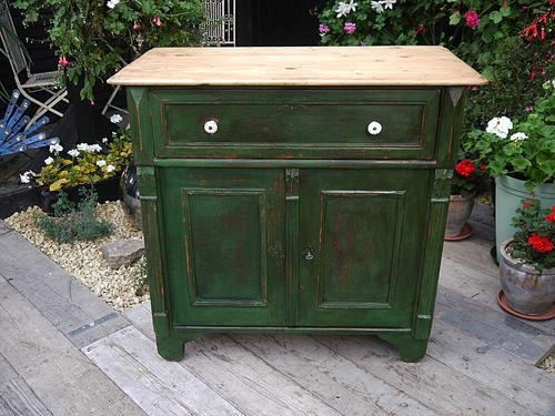 Fabulous! Old Victorian Pine Painted Dresser Base Sideboard / Cupboard Shabby Chic (1 of 1)