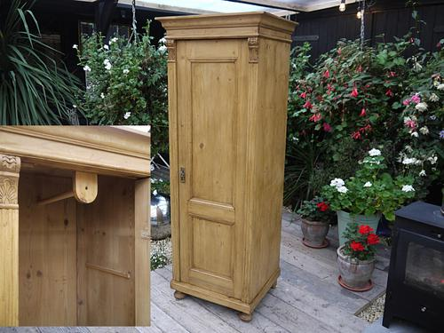 Old Antique Pine Tall Slim Cabinet / Linen / Larder / Food / Cupboard / Guest / Child's Wardrobe Inc. RAil (1 of 1)