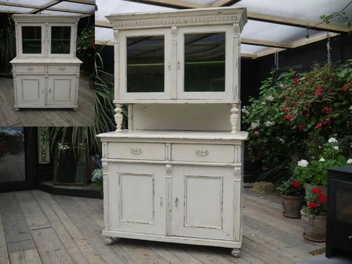 Gorgeous! Old Victorian Pine Painted Glazed Dresser / Sideboard / Cupboard - Shabby Chic (1 of 1)