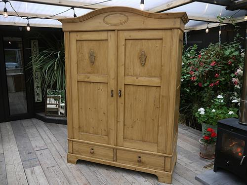 Fabulous! Old Antique Pine Double / Big Like Triple Knock Down Sectional Wardrobe (1 of 1)