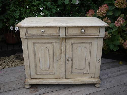Beautiful Old Victorian Pine Painted Dresser Base Sideboard / Cupboard Shabby Chic (1 of 1)