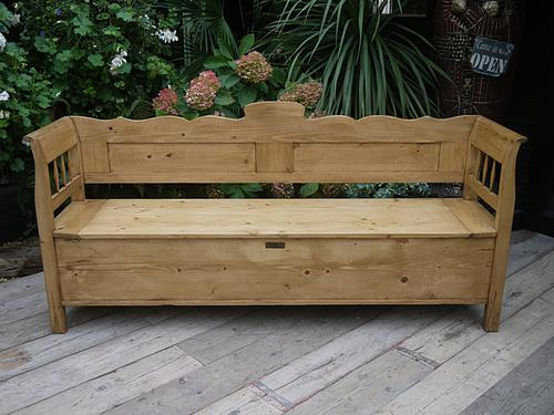 Superb! Old Antique Victorian Pine Hungarian Monks Box Bench / Settle / Pew / Storage (1 of 1)