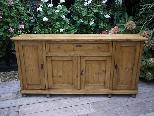 Big!! Old 4 Door 2m Antique Pine Dresser Base Sideboard / Cupboard / Cabinet (1 of 1)