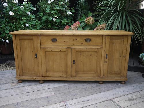 Big!! Old 4 Door 2m Antique Pine Dresser Base Sideboard / Cupboard (1 of 1)