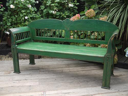 Fabulous! Antique (Very Art Deco But Is Older) Pine & Painted (Old Paint!) Bench (1 of 1)