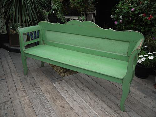Wow! Old Victorian / Antique Pine & Painted (Old Paint) Bench / Settle - Shabby Chic (1 of 1)