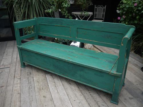 Lovely Old & Genuine Antique Painted Pine Box Bench - Shabby Chic (1 of 1)