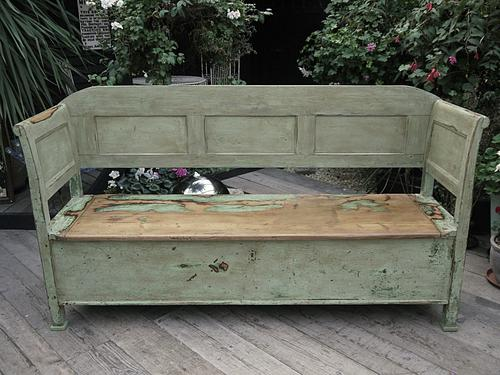 Wow! Amazing! Antique Pine Box Bench / Settle - Shabby Chic (1 of 1)