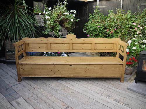 Long! Old Antique Victorian 2.5M Pine Hungarian Monks Box Bench / Settle / Pew / Storage (1 of 1)