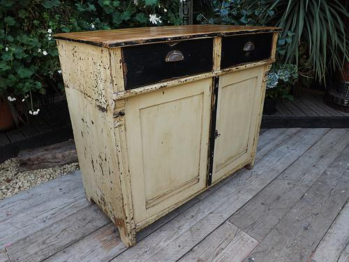 Large Old Victorian Painted Pine Dresser Base Sideboard / Cupboard Shabby Chic (1 of 1)