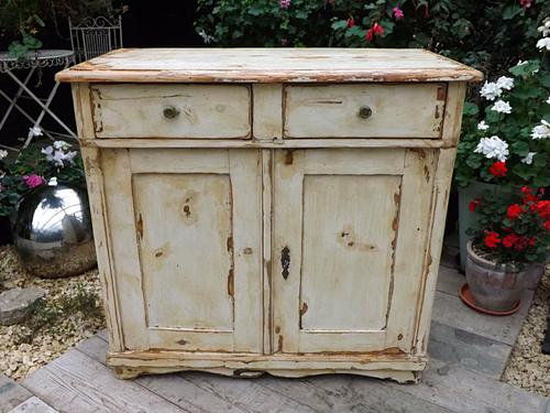 Old Distressed Painted Antique Pine Dresser Base Sideboard / Cupboard Shabby Chic (1 of 1)