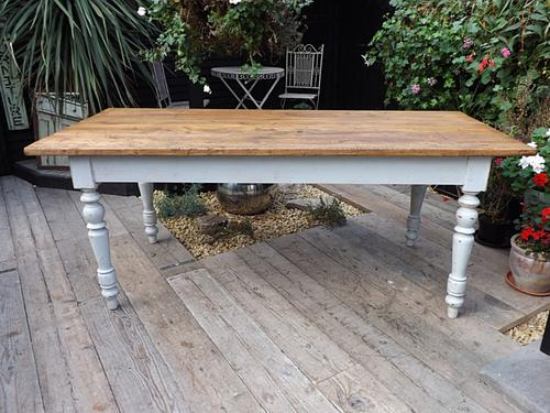 Lovely & Large Old Antique 2M 8 Seat Pine & Painted Kitchen / Dining Table (1 of 1)