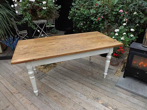 Wonderful & Large Old Antique 1.8M / 6Ft Pine & Painted Kitchen / Dining Table (1 of 1)