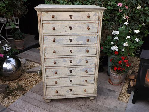 Rare! Old Antique Victorian Painted Pine Chest of 8 Drawers Tallboy (1 of 1)