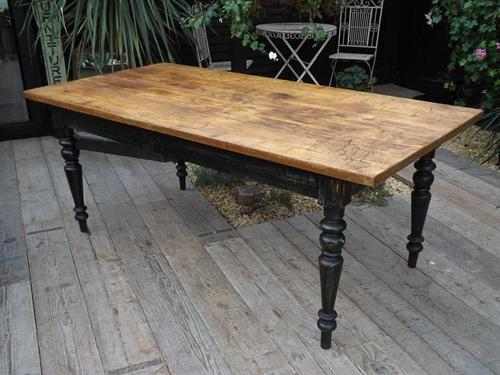 """Fabulous! Big Old Antique 2m / 6ft 7""""/ 8 Seat Pine & Painted Kitchen / Dining Table (1 of 1)"""