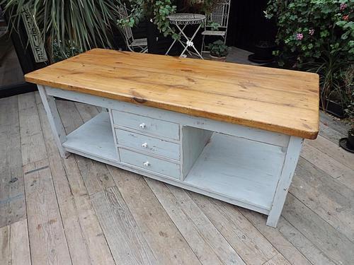 Fantastic! Big Old 2M Antique Pine Kitchen Island / Preparation Table / Butchers Block (1 of 1)