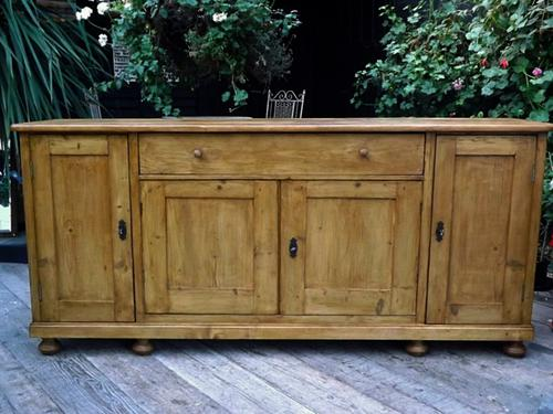 Wow! Big! Old 4 Door 2M Antique Pine Dresser Base Sideboard / Cupboard (1 of 1)