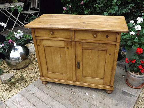 Lovely Old Antique Victorian Waxed Pine Dresser Base Sideboard / Cupboard / Cabinet (1 of 1)