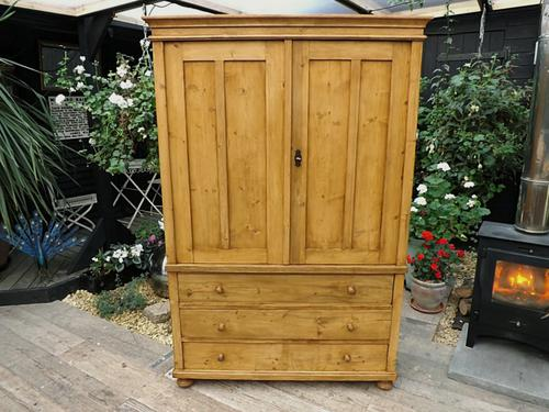 Wonderful! Old Antique Pine Two Piece Linen Press Wardrobe / Cupboard (1 of 1)