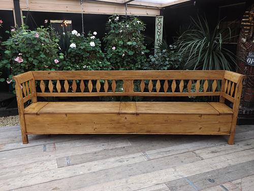 Fabulous! Massive! 3M! Old Antique Victorian Pine Box Bench / Settle / Pew / Storage (1 of 1)