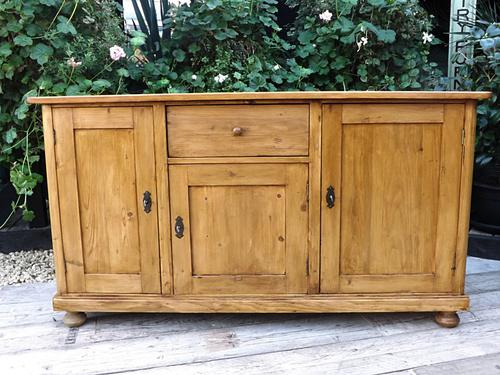 Stunning! Large Old Antique Waxed Pine Dresser Base Sideboard / Cupboard (1 of 1)