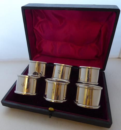 Boxed Set 6 Hallmarked Solid 1927 Silver Napkin Rings Serviette Ring Numbered (1 of 9)