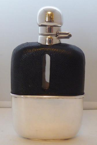 Silver Plated Leather Bound Glass Hip Flask Mint c.1930 (1 of 12)